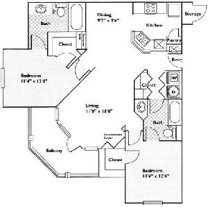 1,137 sq. ft. Sumac floor plan