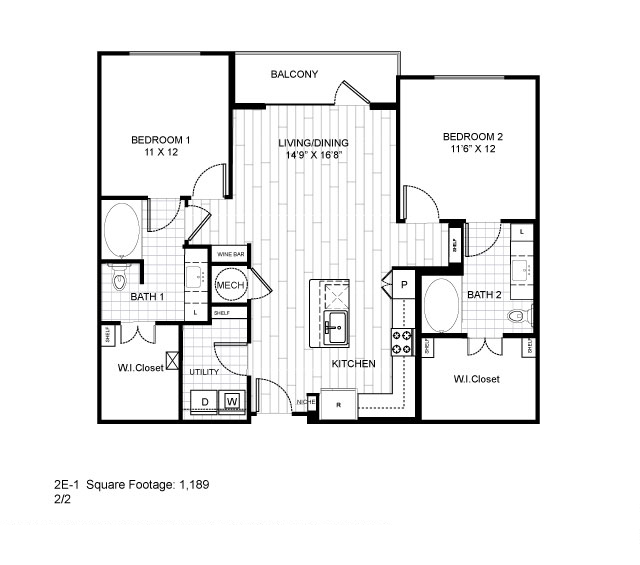 1,189 sq. ft. 2E-1 floor plan
