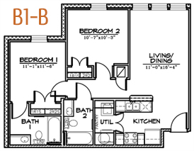 801 sq. ft. floor plan