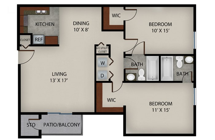 952 sq. ft. Pathway floor plan