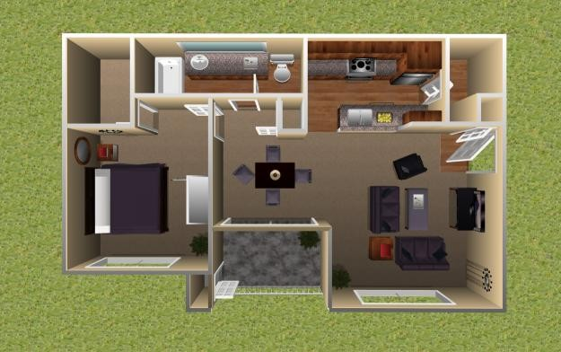 749 sq. ft. Sycamore floor plan