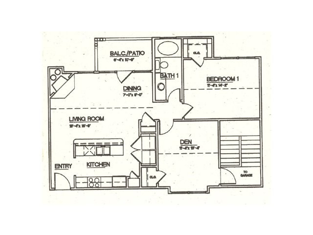 888 sq. ft. B1 floor plan