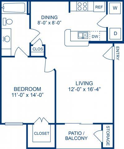 660 sq. ft. B floor plan