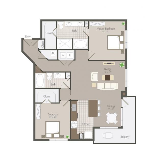 1,323 sq. ft. Rose floor plan