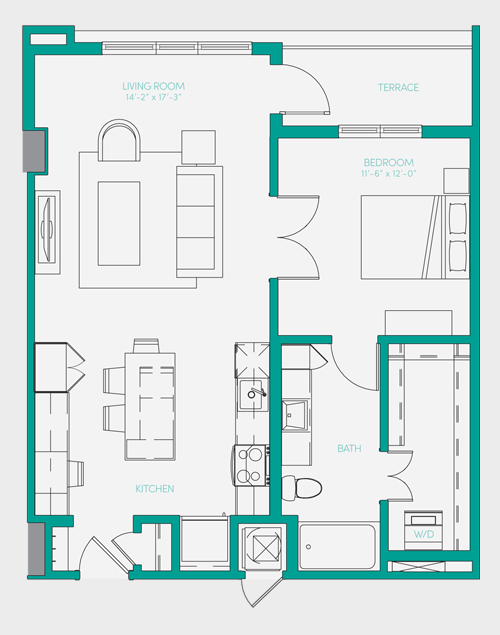 807 sq. ft. A2.3 floor plan