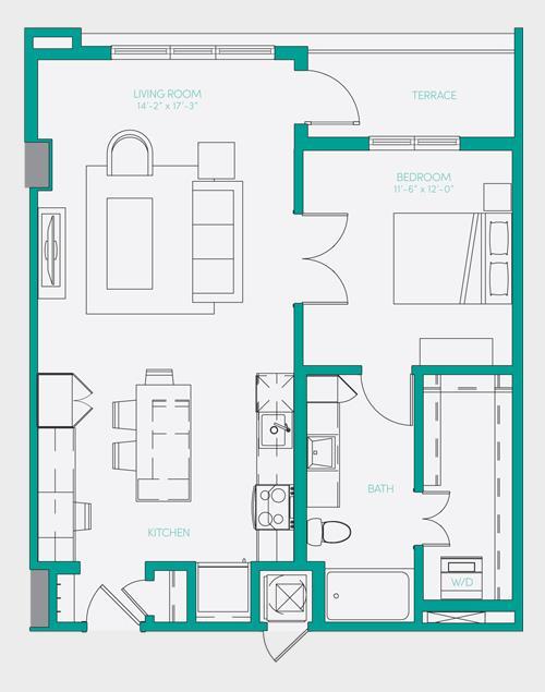 807 sq. ft. A2.3 floor plan