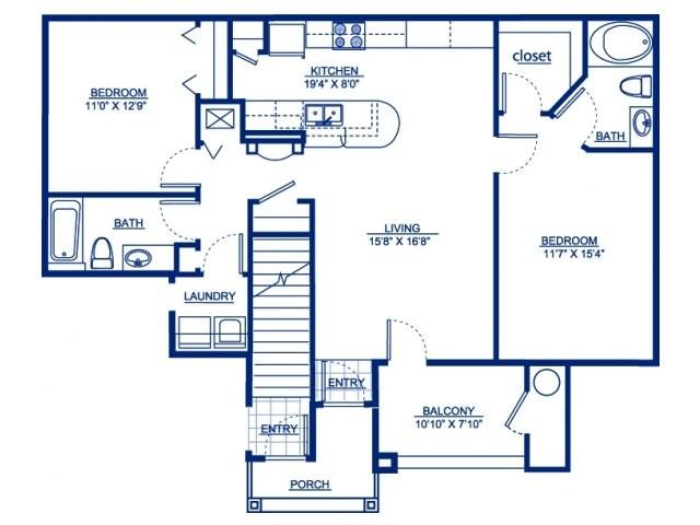 1,211 sq. ft. B1D floor plan