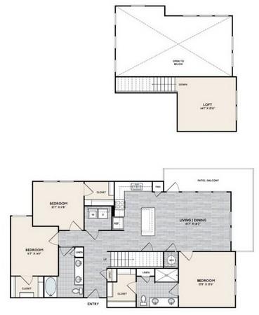 1,691 sq. ft. C1 MEZ floor plan