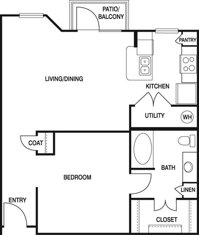 767 sq. ft. Z1A floor plan