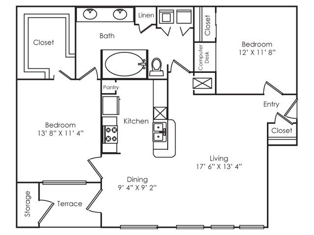 1,031 sq. ft. B1 floor plan