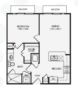636 sq. ft. Caslon/A1A floor plan