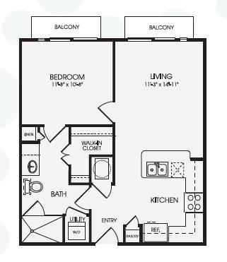 636 sq. ft. Caslon/A1A floor plan