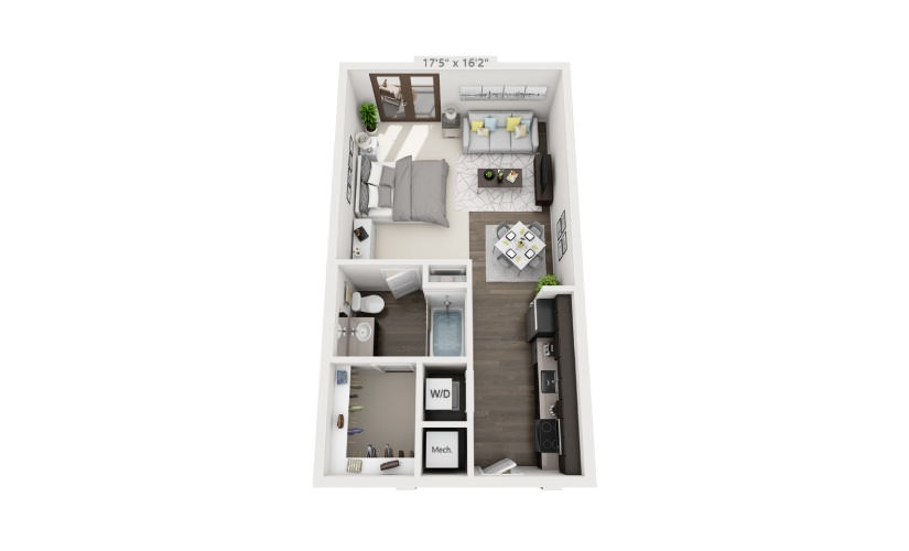 576 sq. ft. S1 floor plan