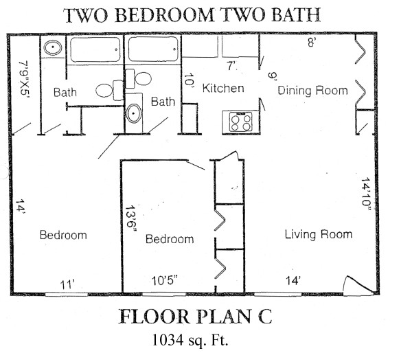 1,034 sq. ft. C floor plan