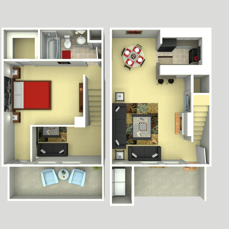 809 sq. ft. A4 floor plan