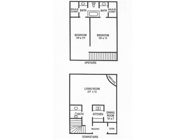 1,160 sq. ft. D1 floor plan