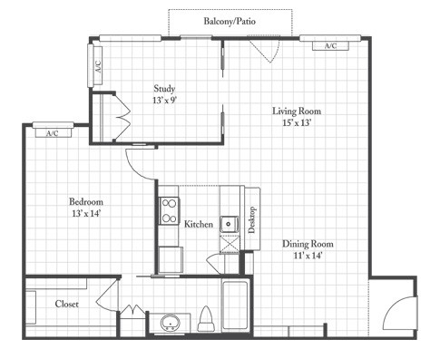 926 sq. ft. PALM floor plan