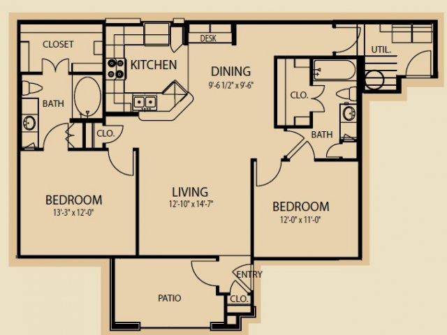 1,147 sq. ft. B6 floor plan