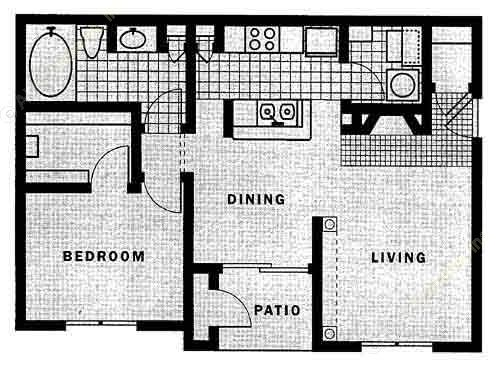 782 sq. ft. A2 floor plan