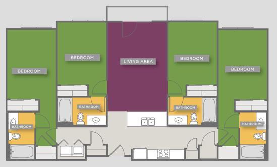 1,403 sq. ft. D2 floor plan