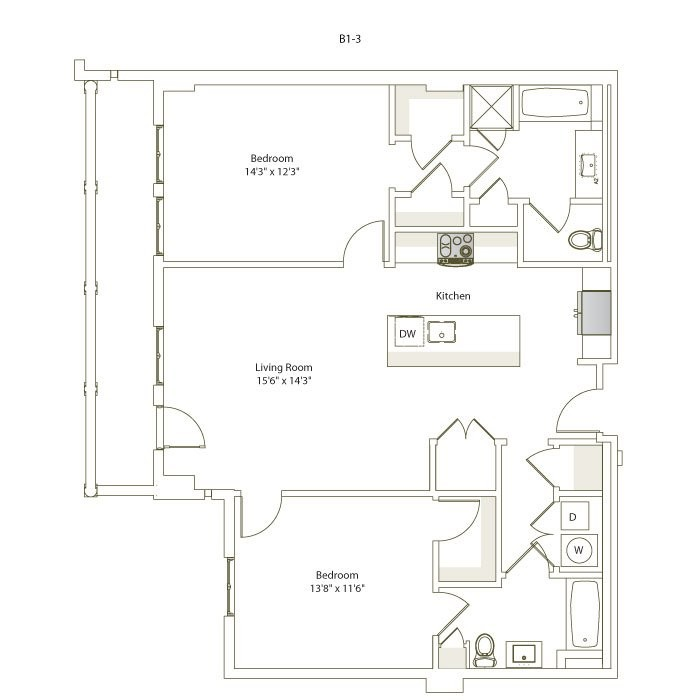 1,204 sq. ft. B1-3 floor plan