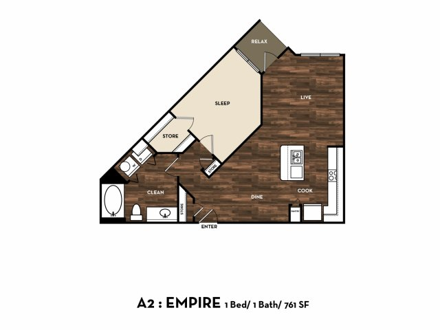 761 sq. ft. A2: Empire floor plan