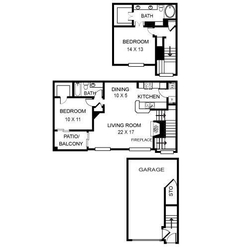 1,300 sq. ft. Santa Fe floor plan