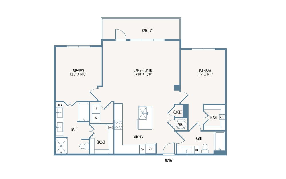 1,317 sq. ft. B4 floor plan