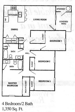 1,350 sq. ft. 60% floor plan