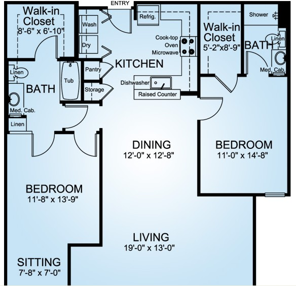 1,296 sq. ft. MYRTLE VALE floor plan