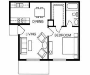 539 sq. ft. Ash floor plan