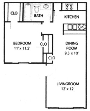 585 sq. ft. A1 floor plan
