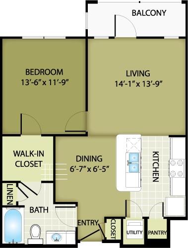 740 sq. ft. CHANEL floor plan