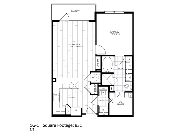 831 sq. ft. 1G-1 floor plan