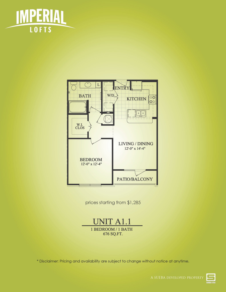 676 sq. ft. A1.1 floor plan