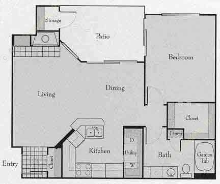 745 sq. ft. 1A floor plan