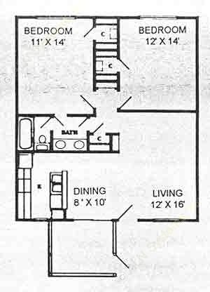 896 sq. ft. B1 floor plan