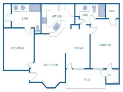 1,047 sq. ft. C floor plan