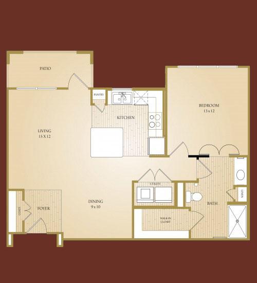 865 sq. ft. Blanco floor plan