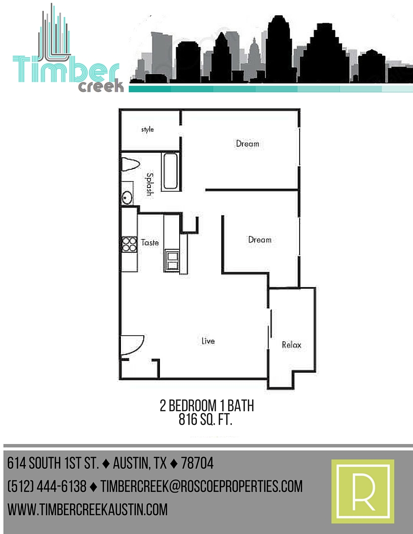816 sq. ft. B3 floor plan