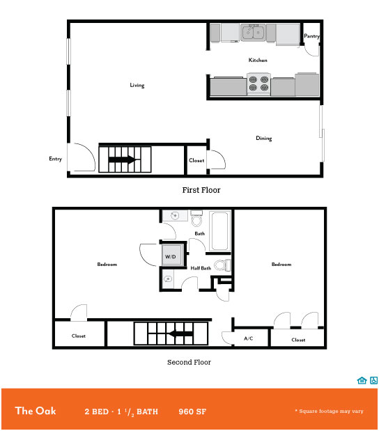 960 sq. ft. Oak floor plan