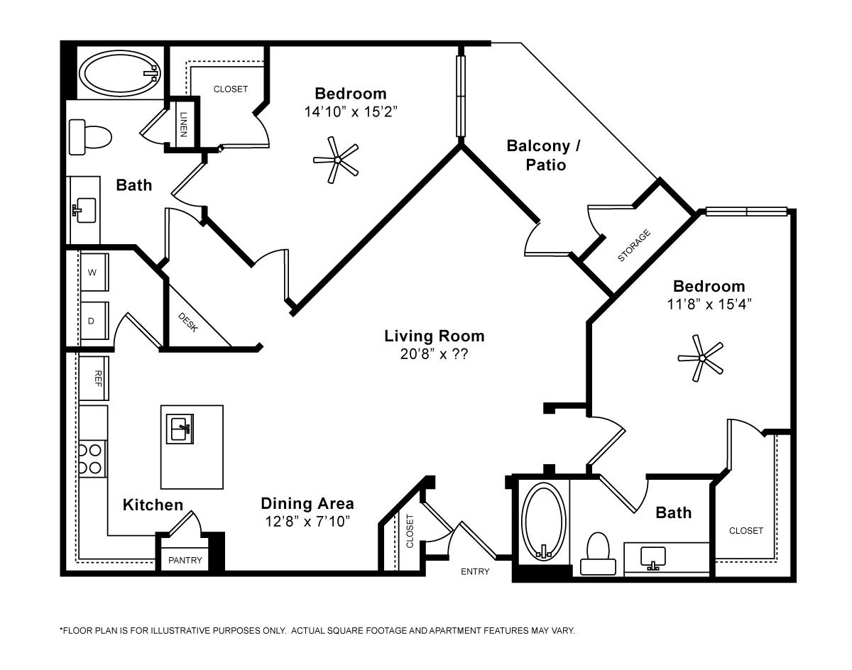 1,191 sq. ft. Murano floor plan