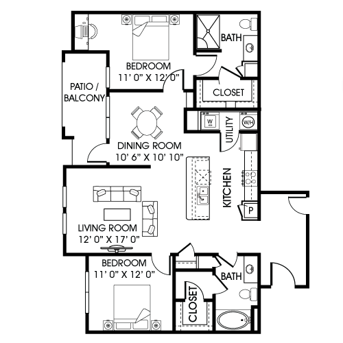 1,222 sq. ft. B3-A floor plan