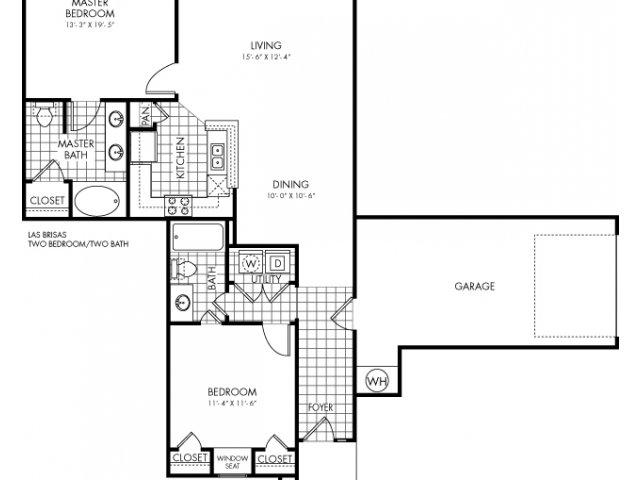 1,246 sq. ft. Las Brisas floor plan