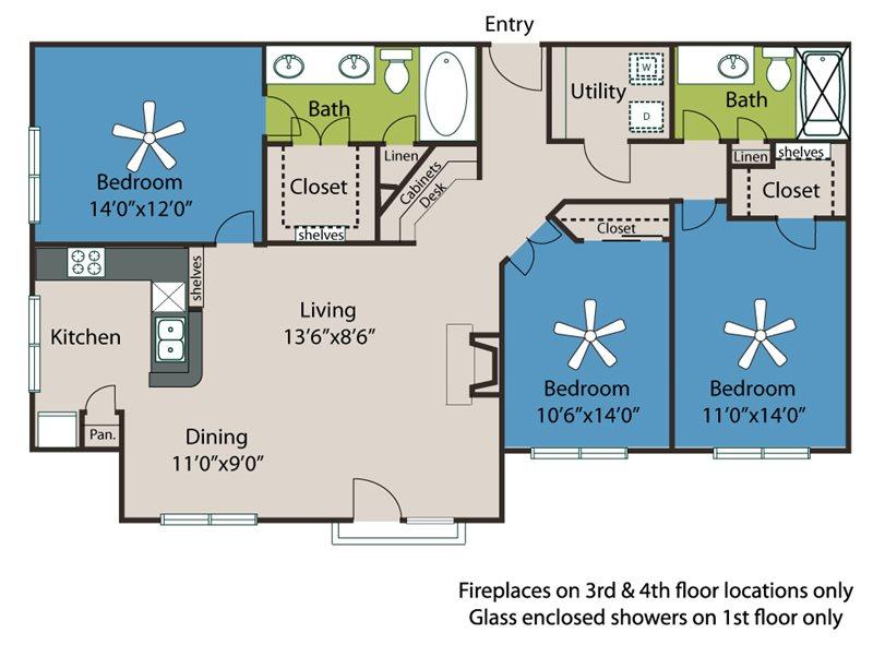 1,391 sq. ft. C1 floor plan