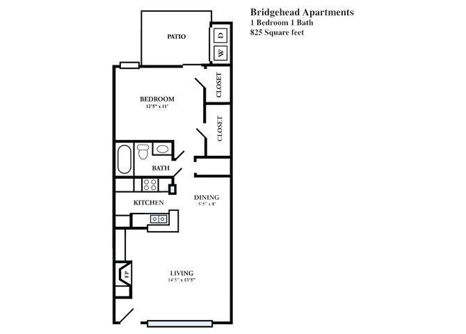 825 sq. ft. D floor plan