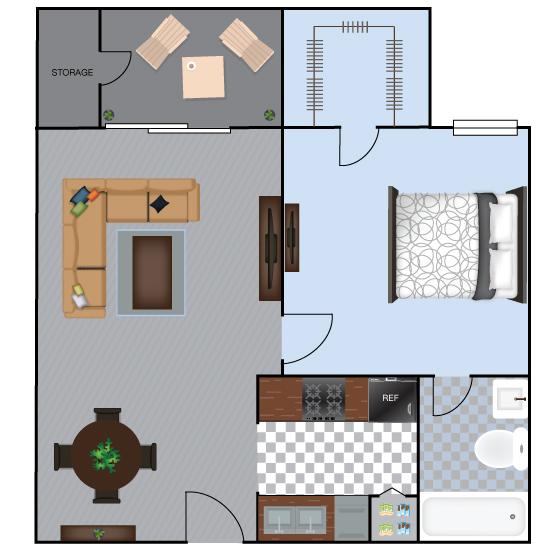 919 sq. ft. A6S floor plan