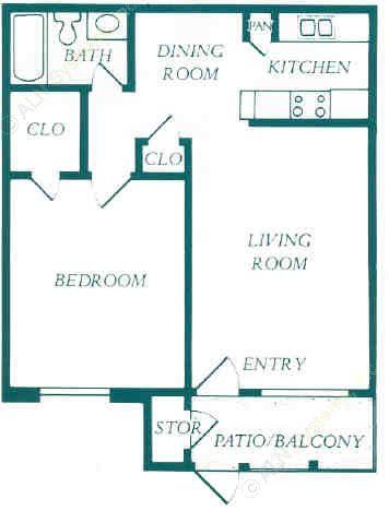659 sq. ft. floor plan