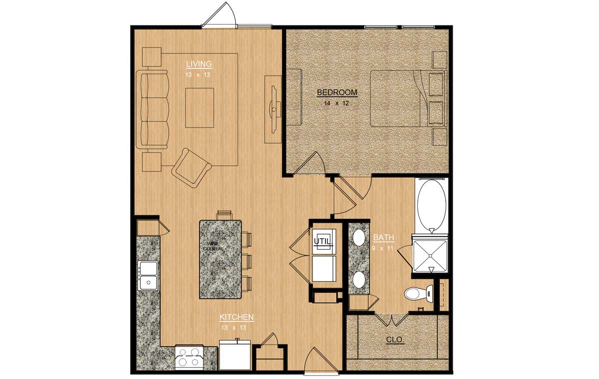 885 sq. ft. Iris floor plan