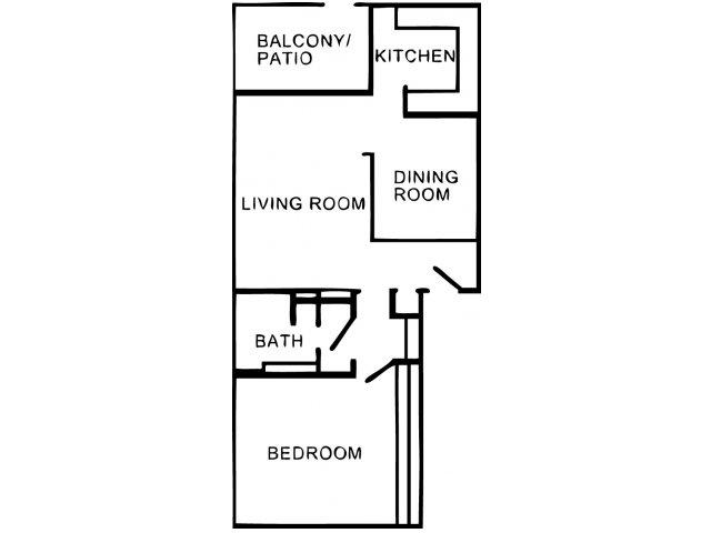 907 sq. ft. A2 floor plan